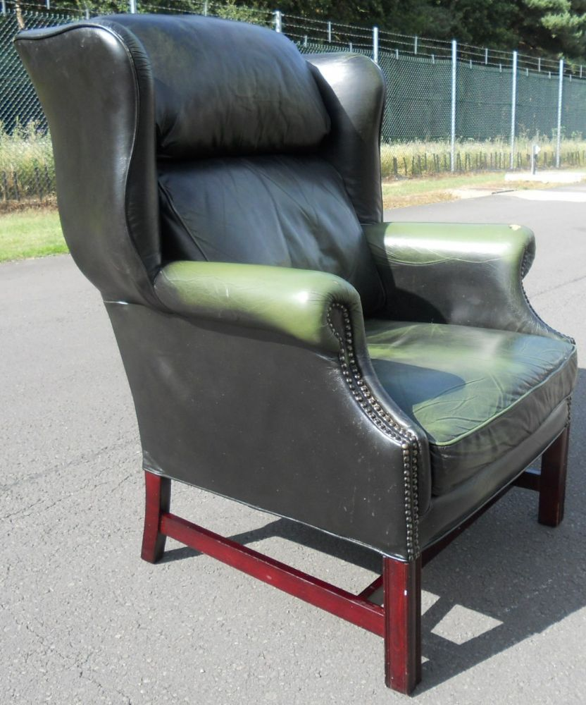 Astonishing Green Leather Wing Armchair Camellatalisay Diy Chair Ideas Camellatalisaycom